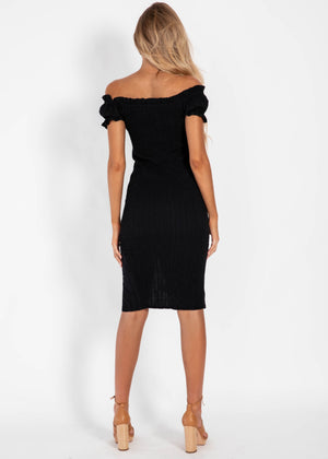 Stay In Line Midi Dress - Black