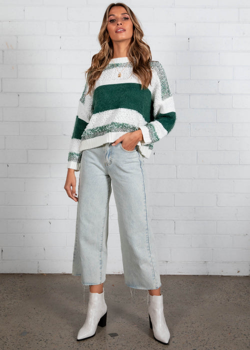 Hooked Up Sweater - Emerald Stripe