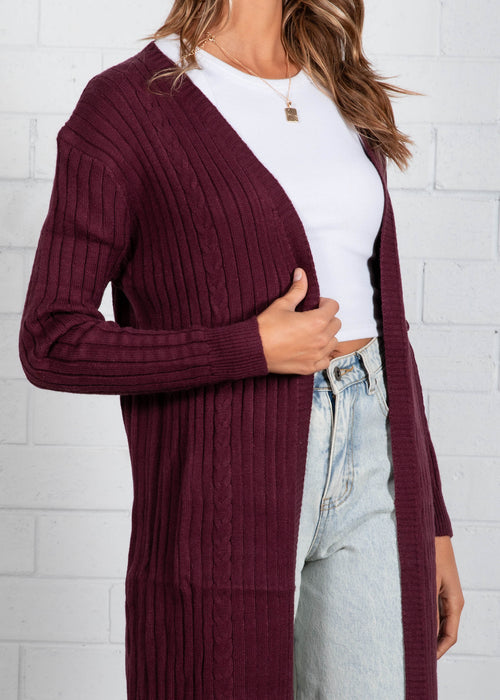 Mayfield Longline Cardi - Mulberry
