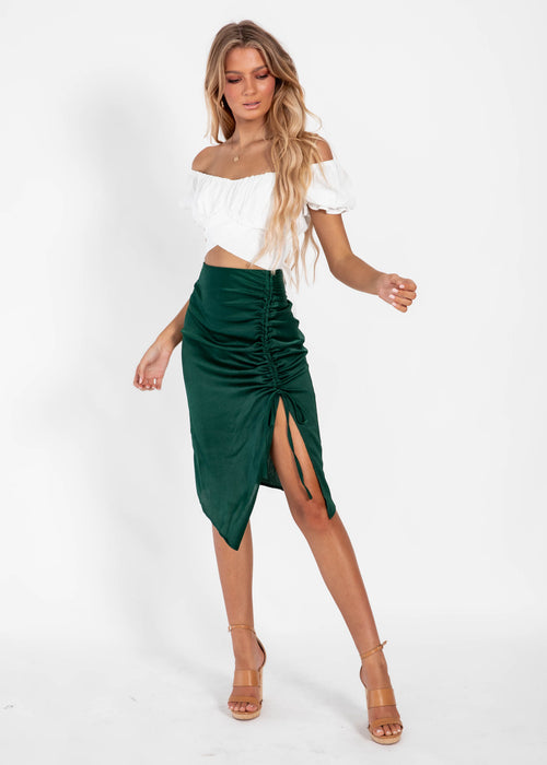 What More Can I Say Midi Skirt - Emerald
