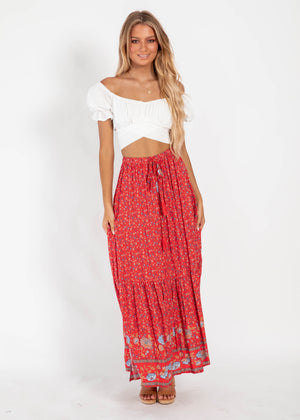 Sweet Love Maxi Skirt - Red Floral