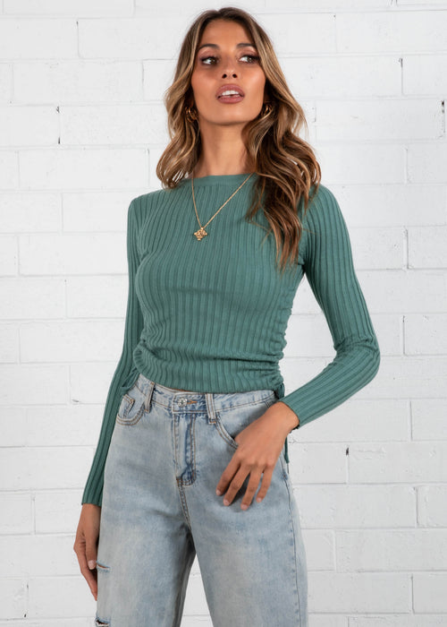 Turana Ruched Knit Top - Sage