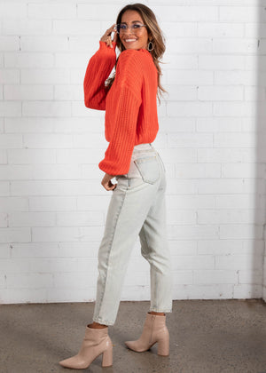 Never Lie Crop Sweater - Tangerine