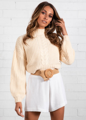 Never Lie Crop Sweater - Cream