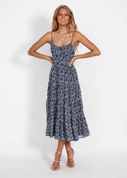 Banksy Midi Dress - Navy Floral