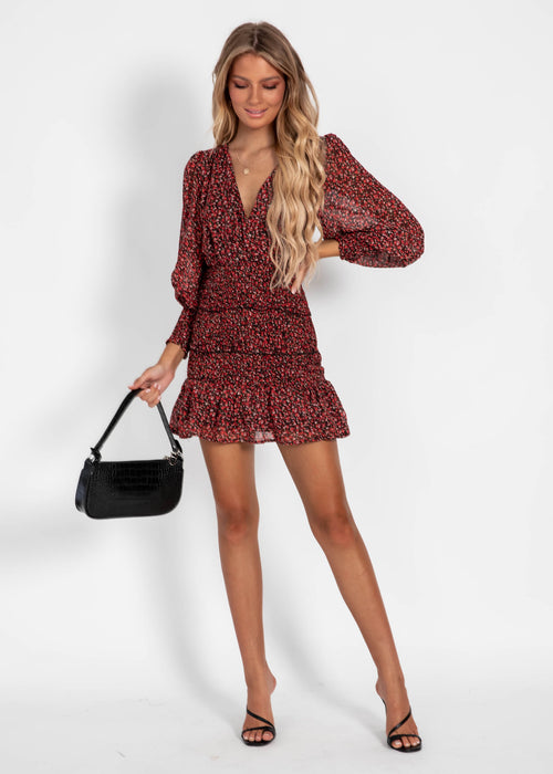Love Buzz Dress - Red Floral