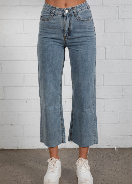 Kayci Cropped Jeans - Vintage Denim