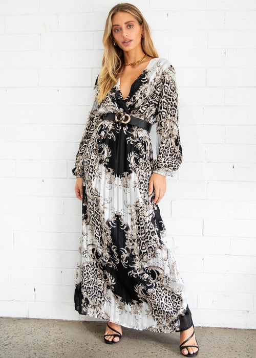 Midnight City Maxi Dress - Black Ornate