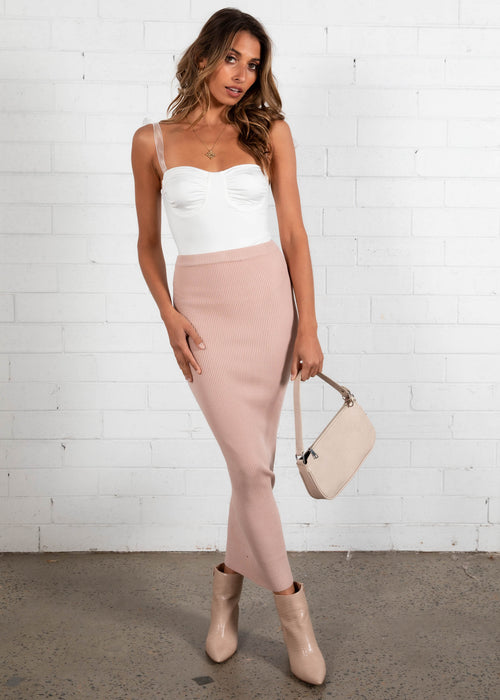 Carla Knit Maxi Skirt - Blush