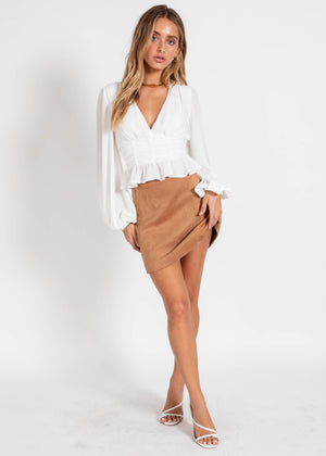 Hattie Cropped Blouse - White