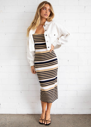 Oxford Knit Midi Dress - Black/Beige Stripe