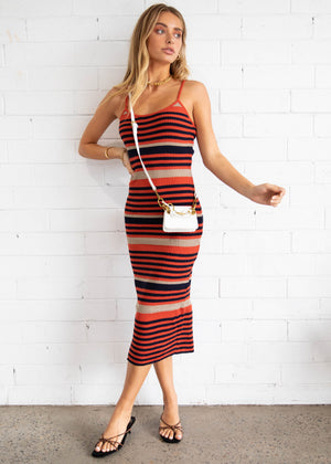 Oxford Knit Midi Dress - Rust/Black Stripe