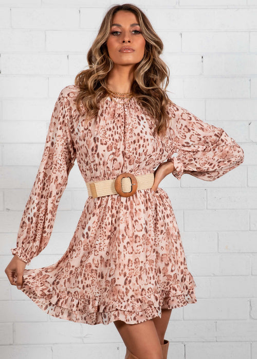Shiloh Swing Dress - Blush Leopard