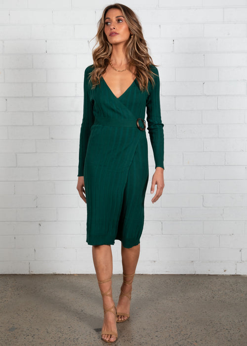 Selah Wrap Knit Midi Dress - Emerald