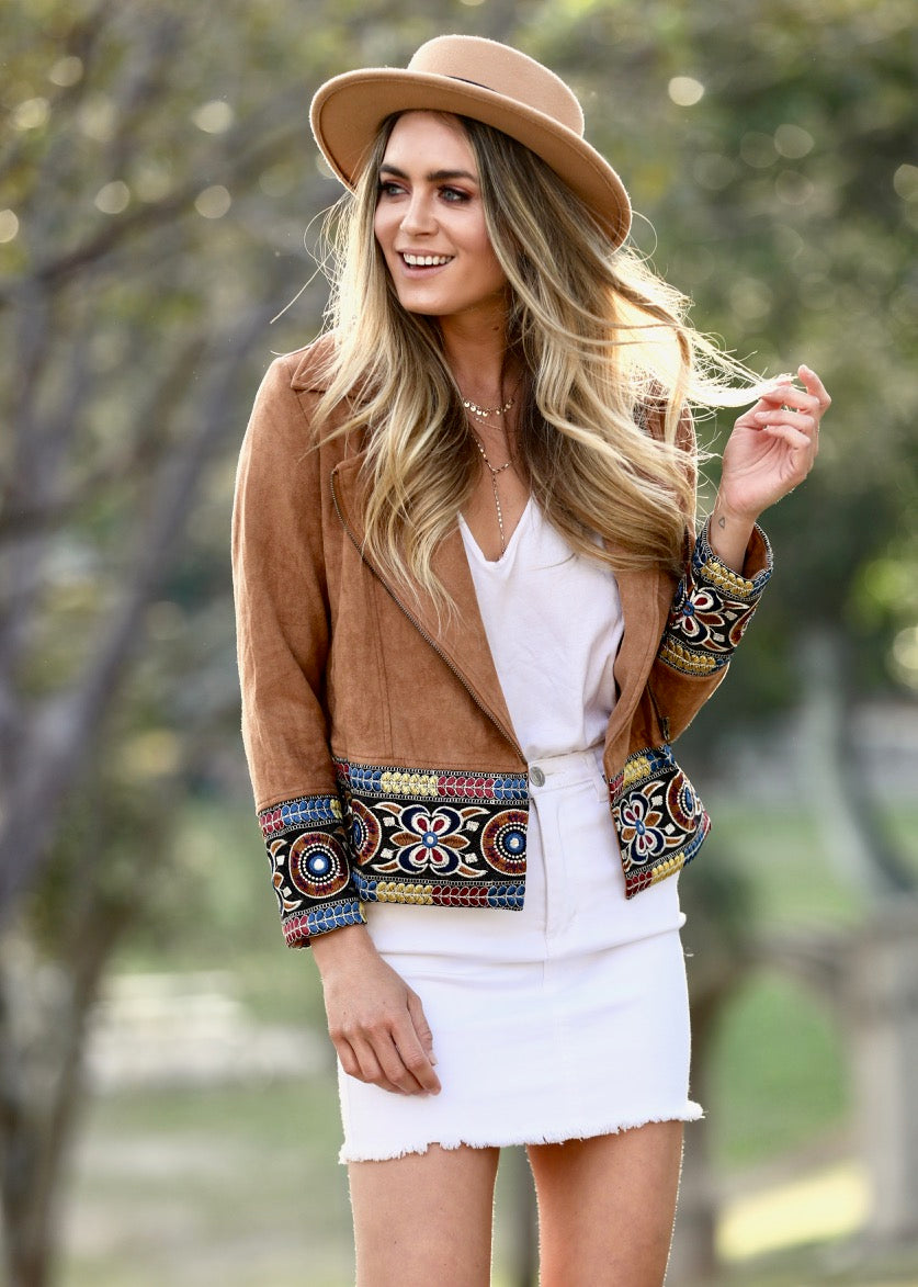 Sivan Embroidered Jacket - Tan
