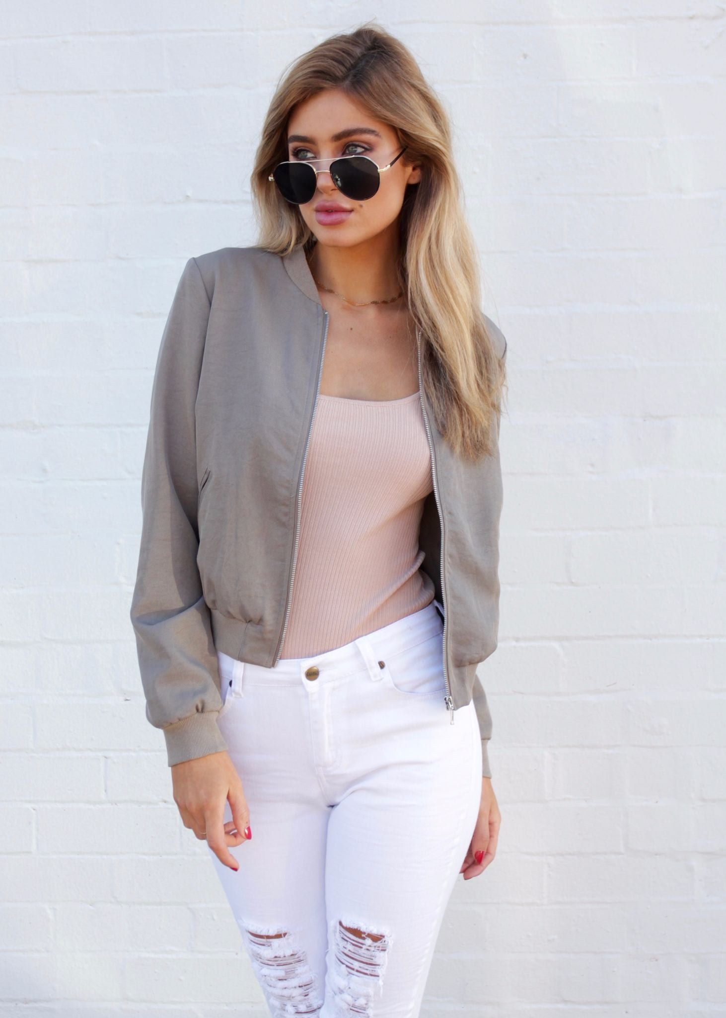All Weekend Bomber Jacket - Light Khaki