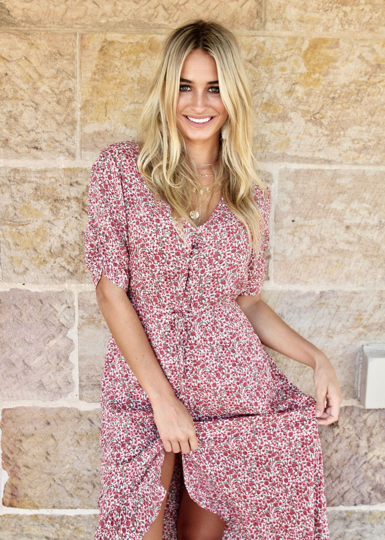 Worlds Away Maxi Dress - Rose