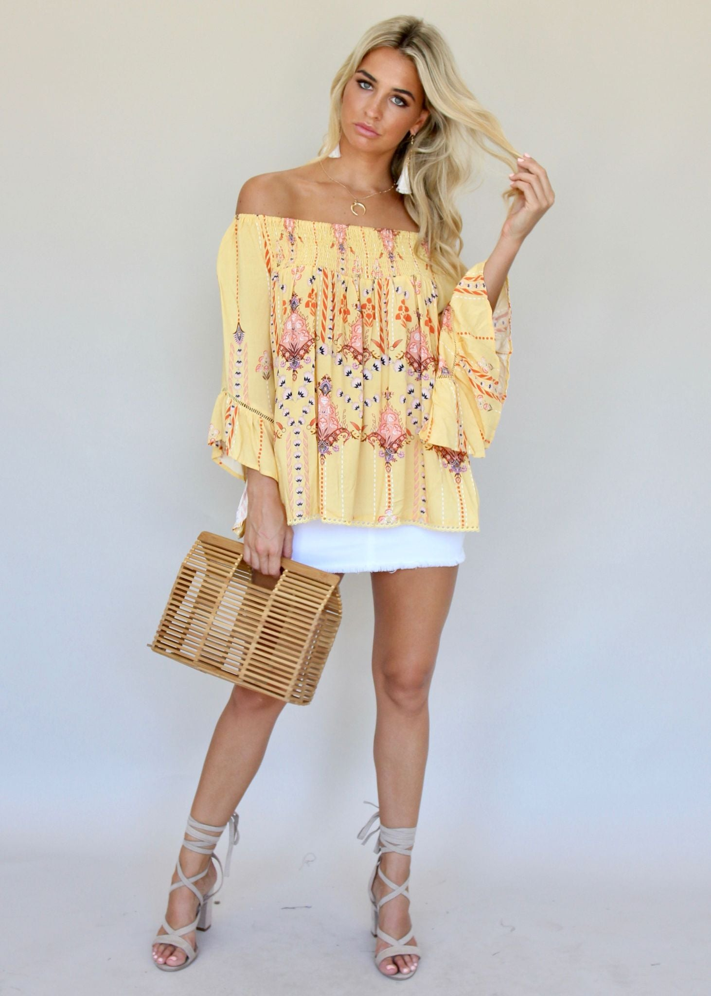 Sugar Night Off Shoulder Top - Carousel