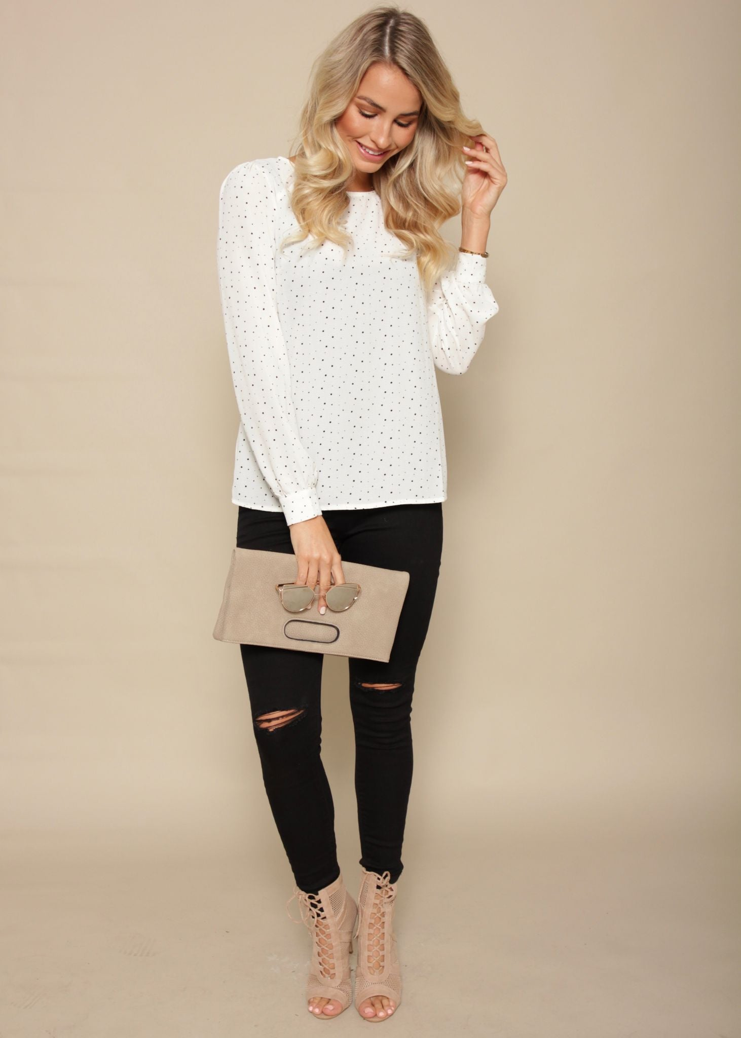 Peace Of You Blouse - White Polka