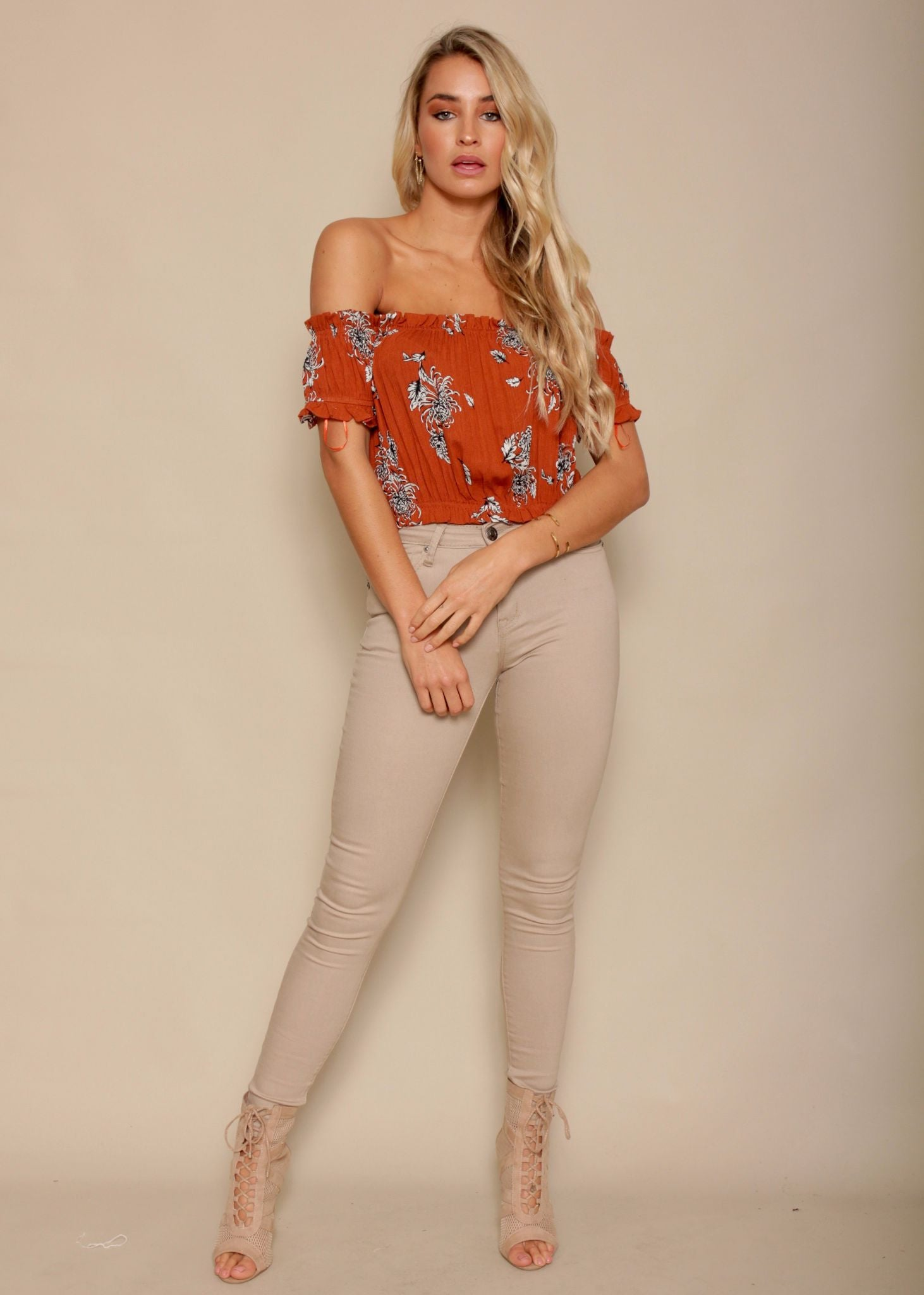 Cassie Girl Off Shoulder Crop - Amber