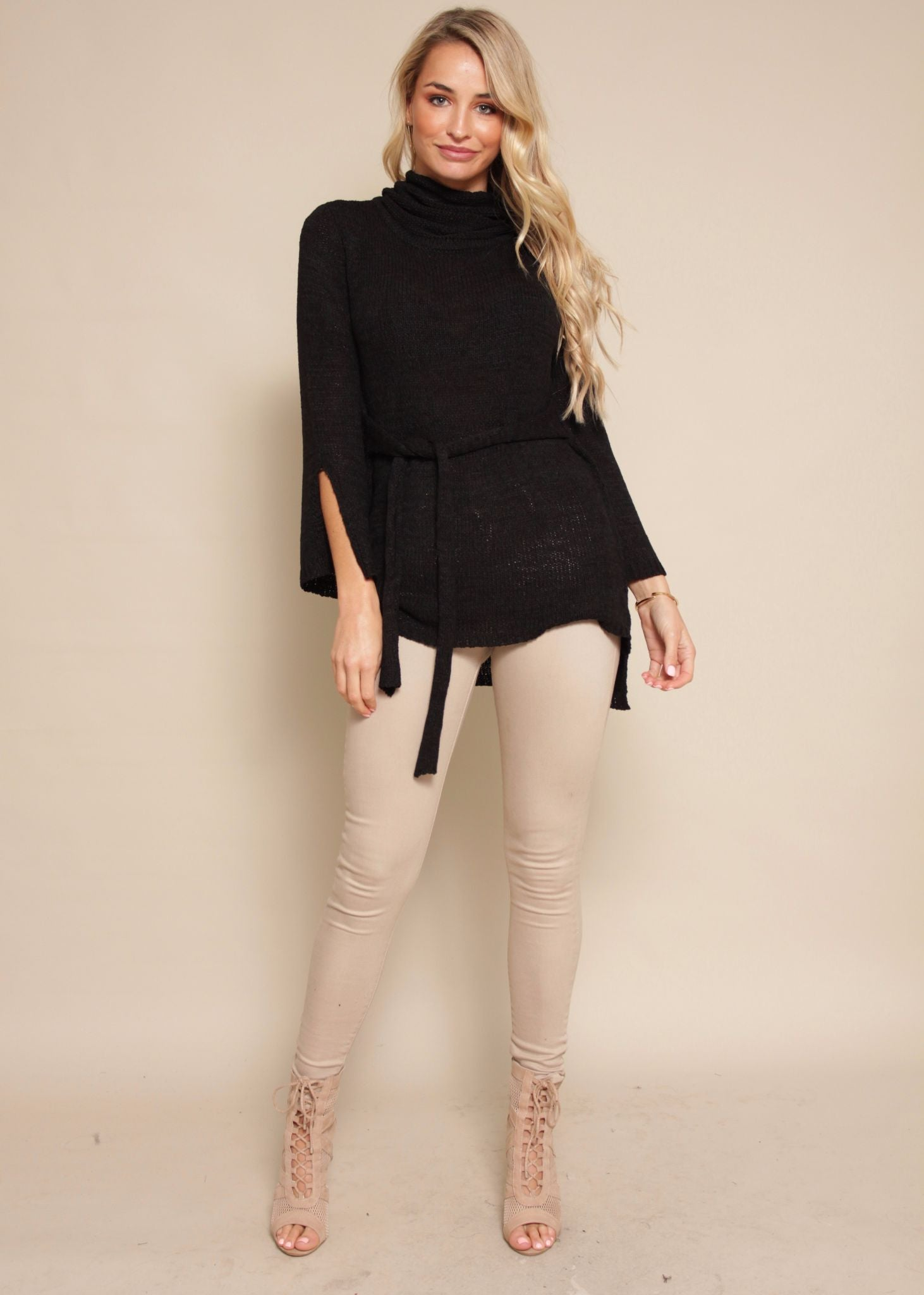 Expecting Company Roll Neck Knit - Black