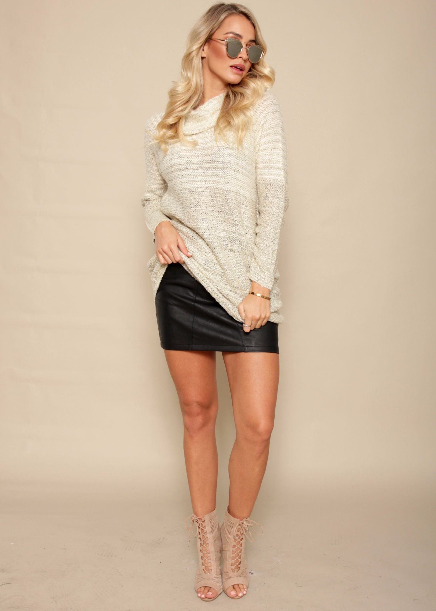 Roll With It Sweater Dress - Cream Fleck