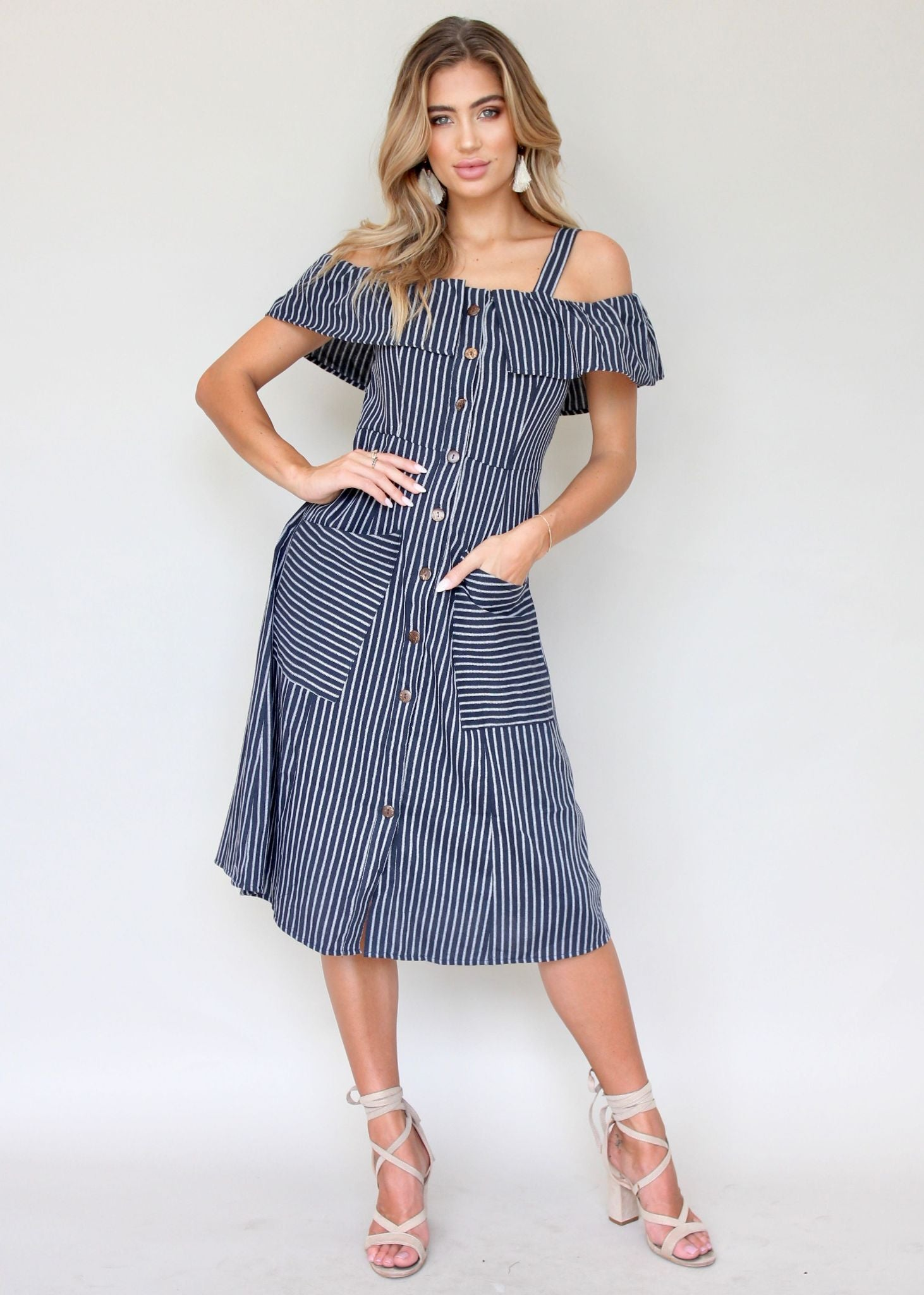 End Game Dress - Navy Stripe