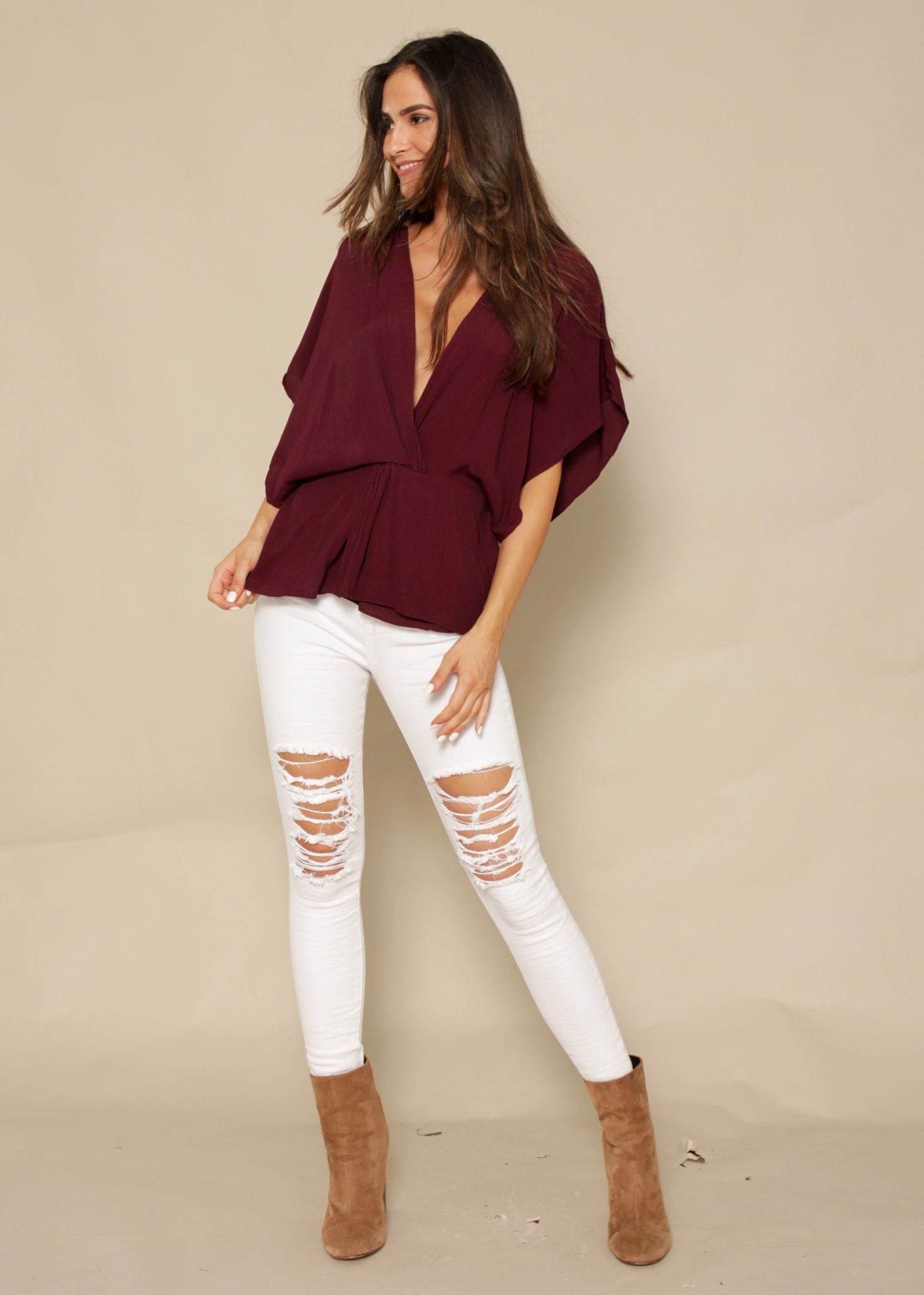 Through The Fire Blouse - Burgundy