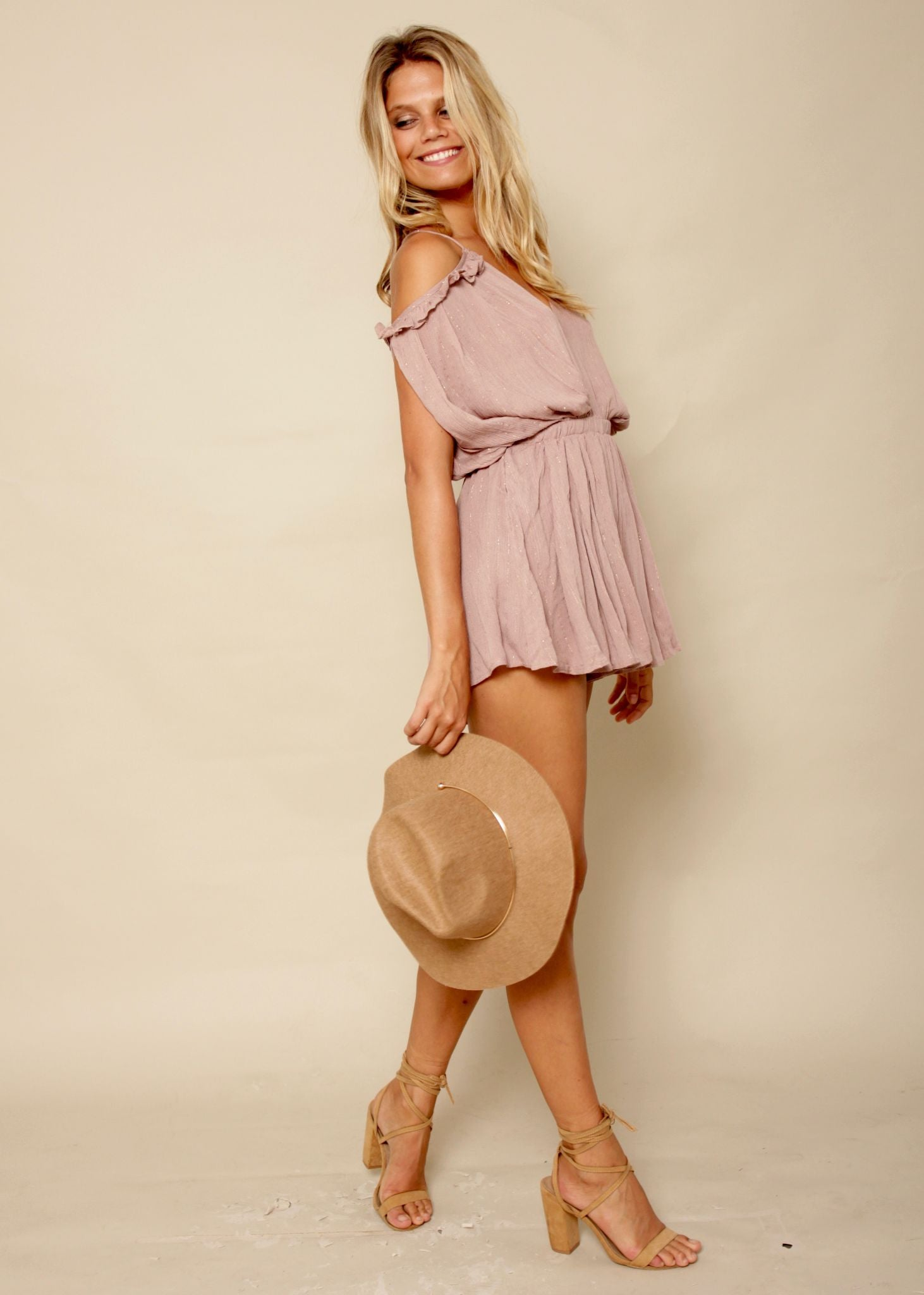 Tinker Lurex Playsuit - Mauve