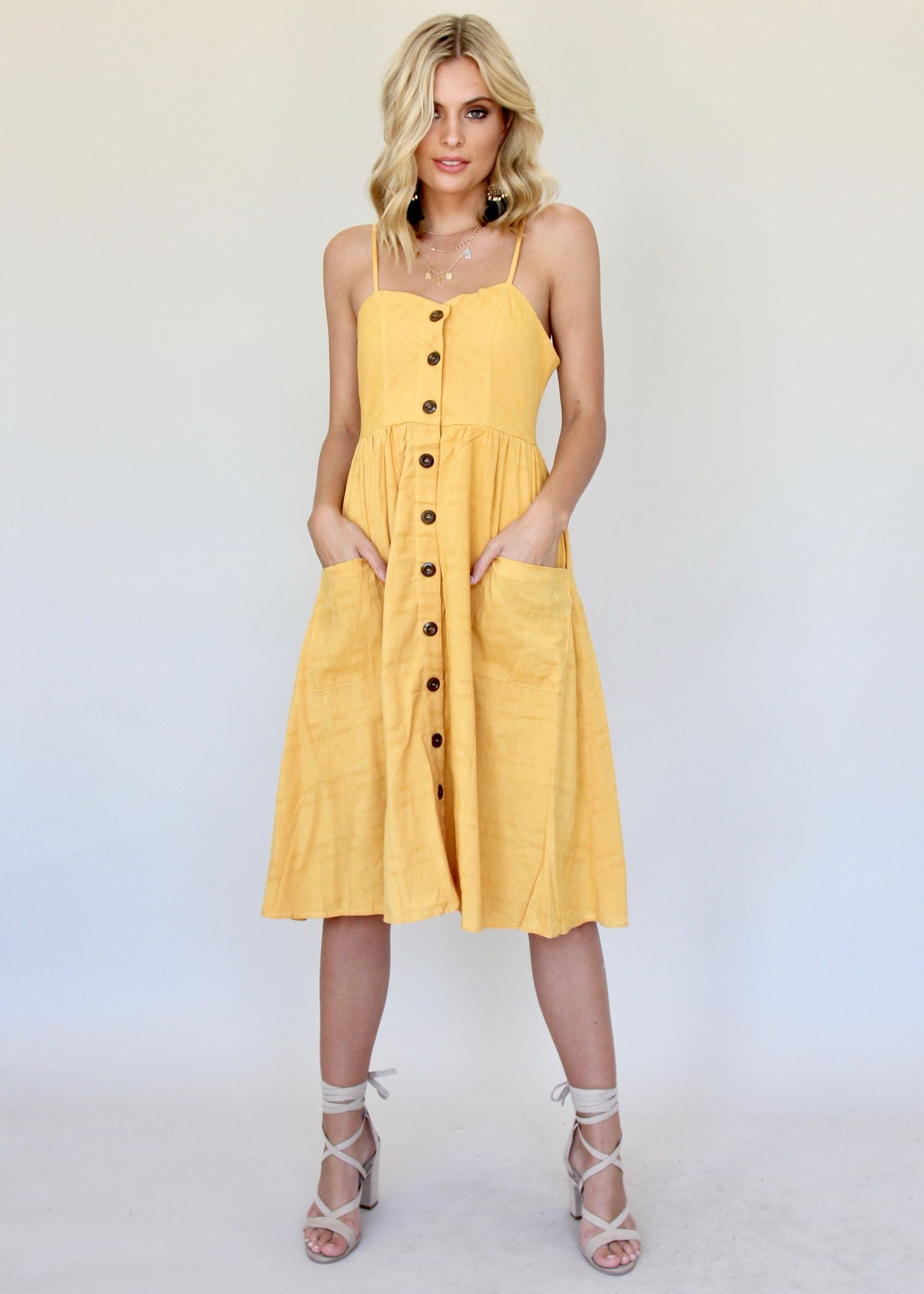 Utopia Midi Dress - Honey