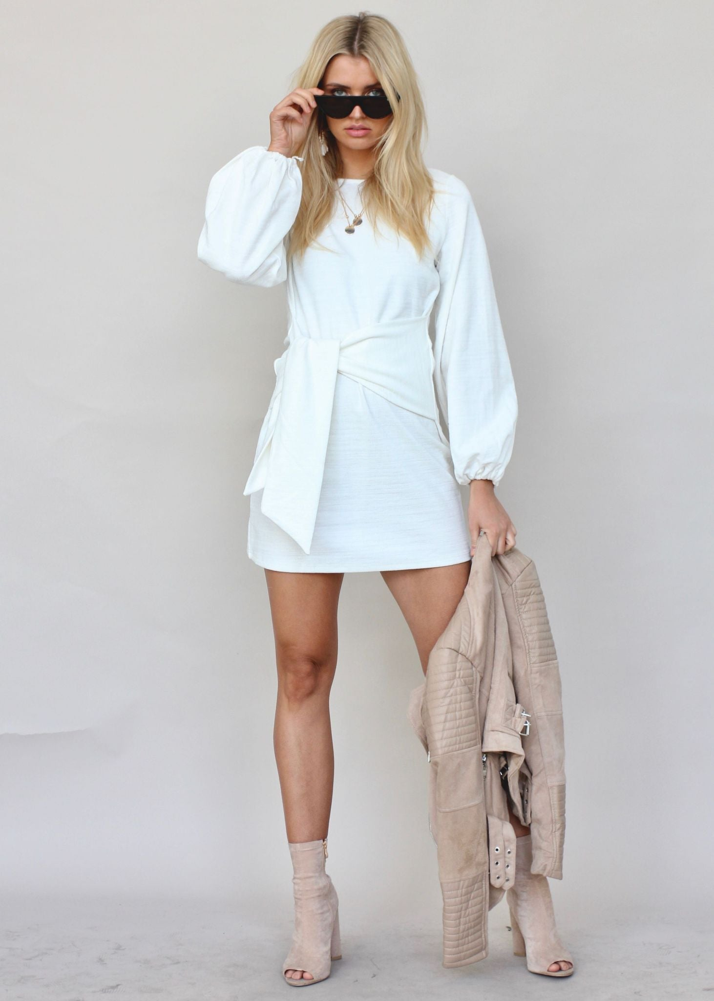 Flashing Lights Knit Dress - Cream