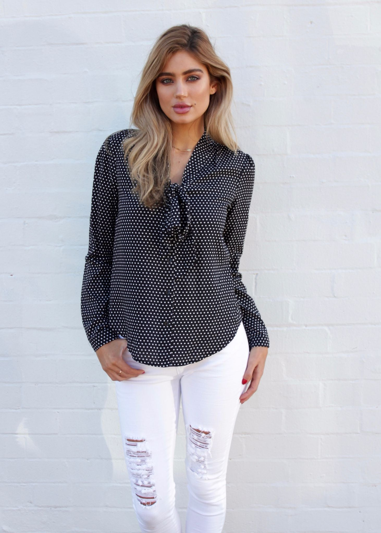 Take Two Blouse - Black Polka