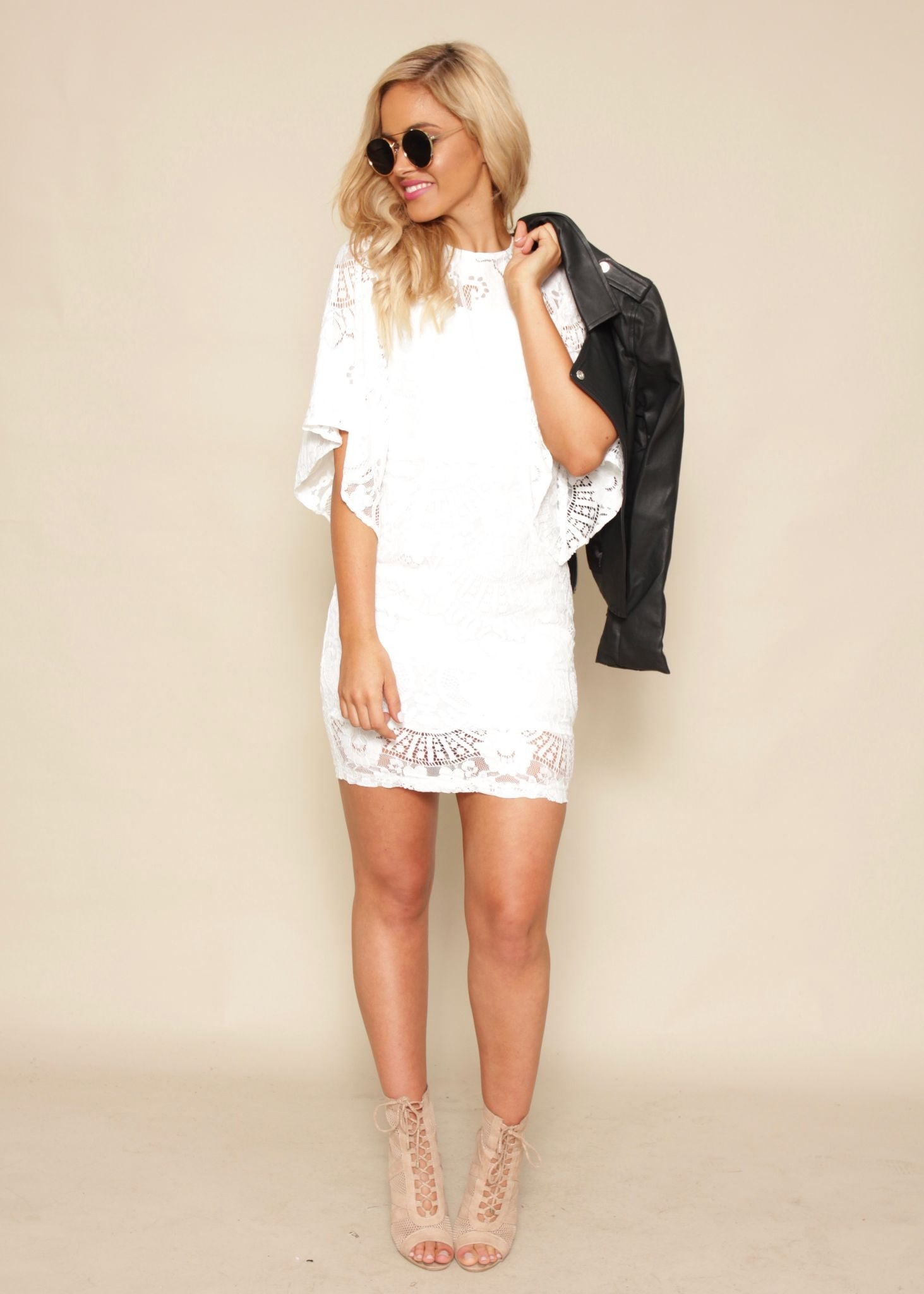 Fools Gold Lace Dress - White