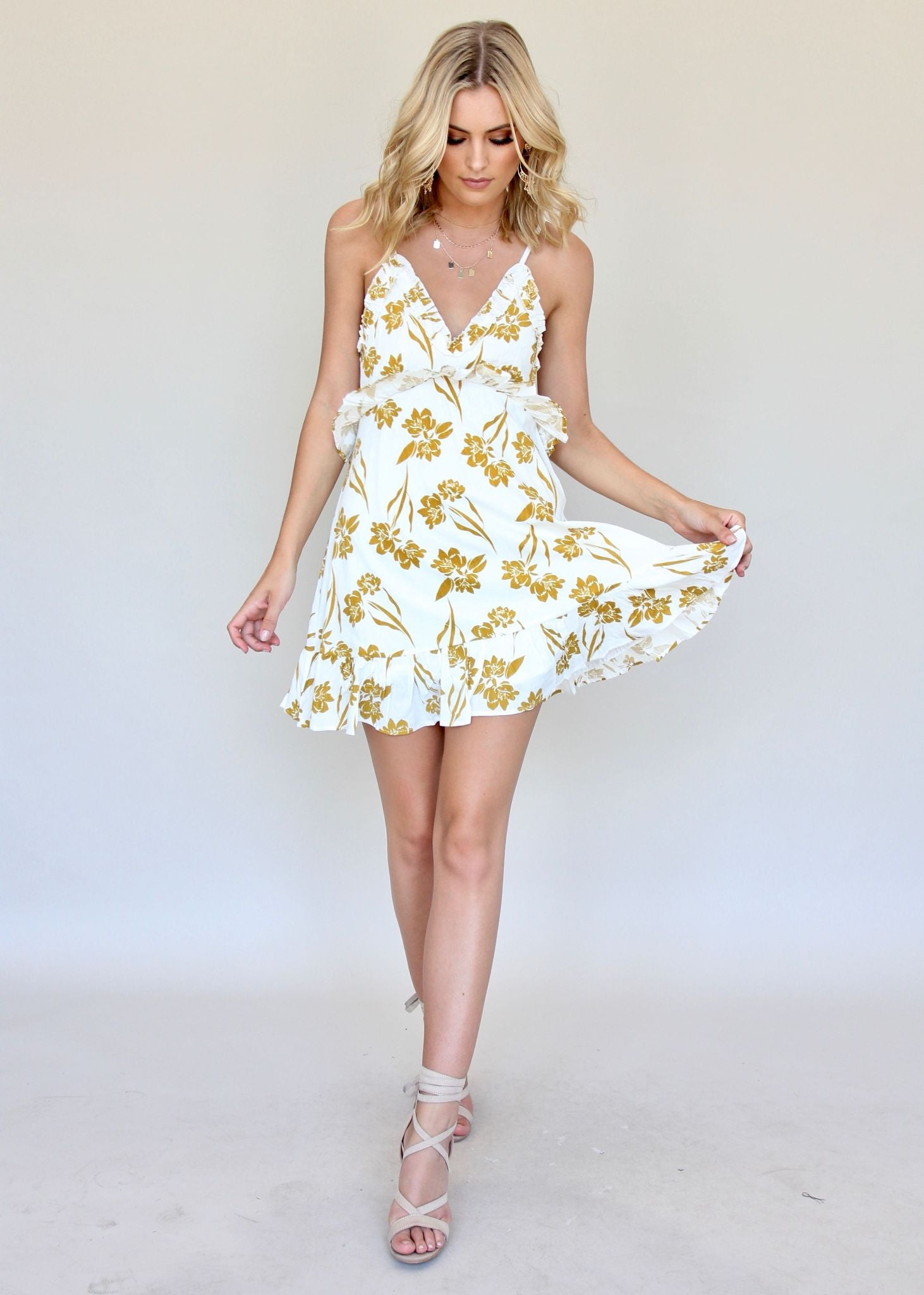 Never Too Late Dress - Mustard/White