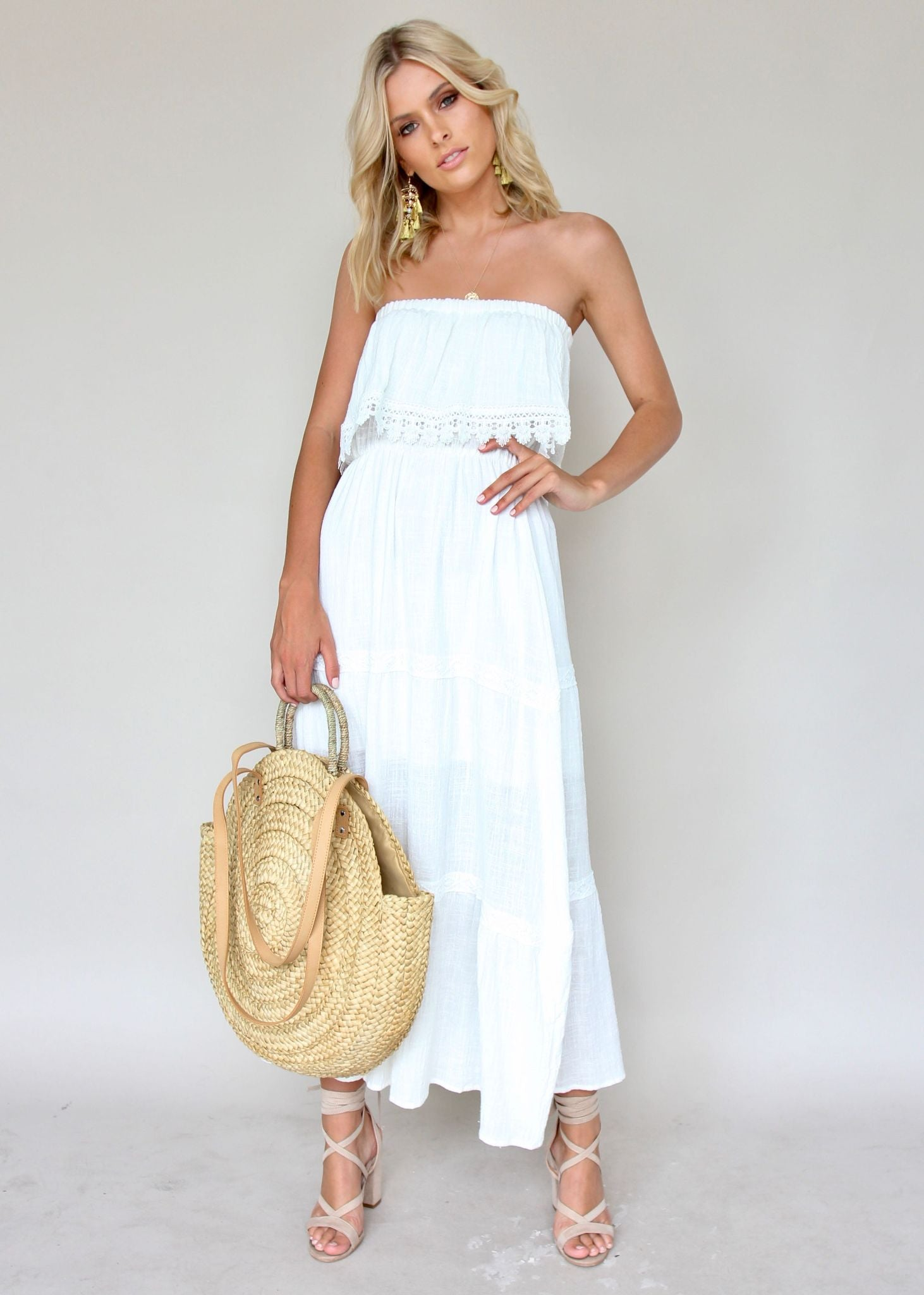 Loved & Adorned Maxi Dress - White