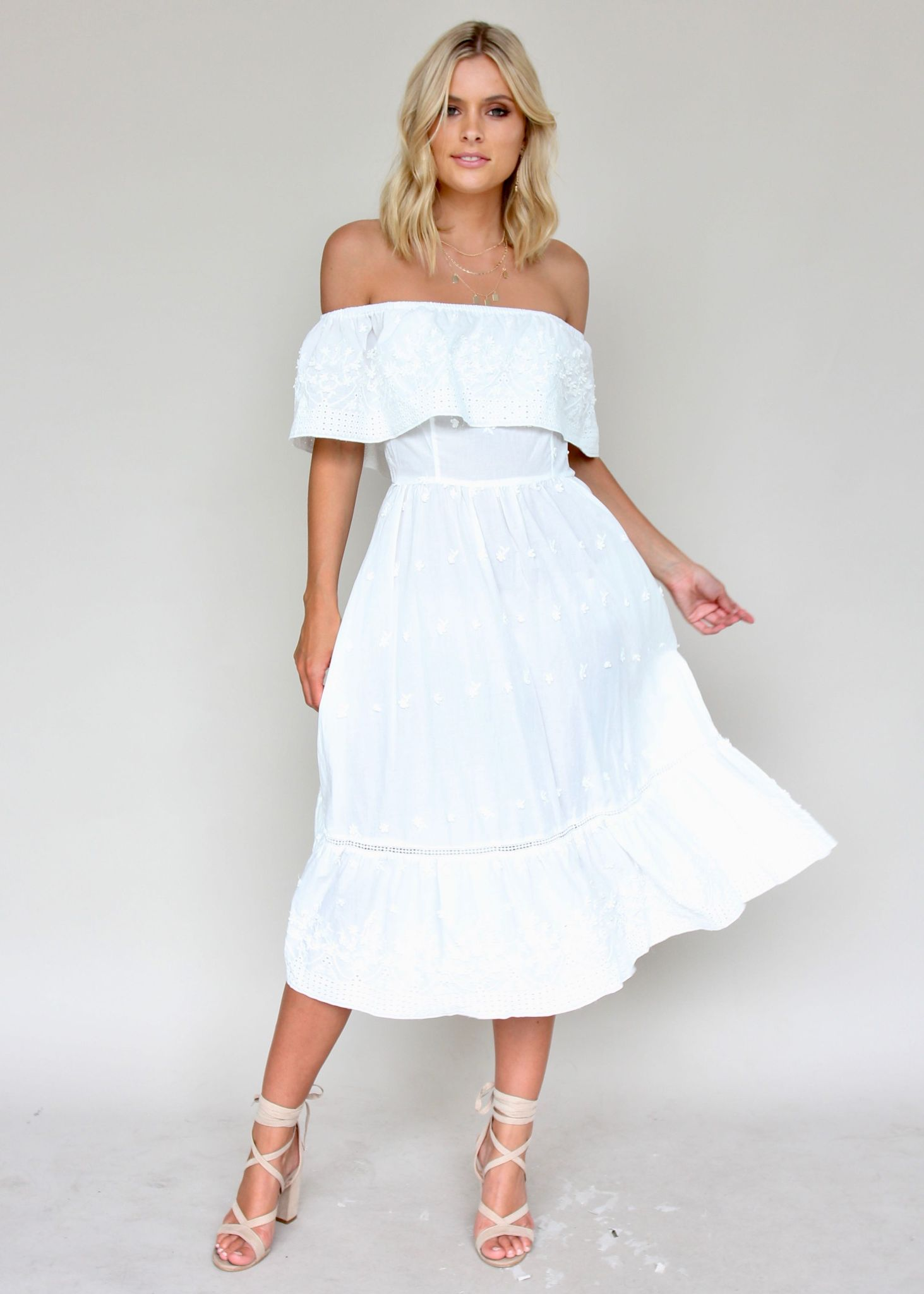 Maria Midi Dress - White Embroidered