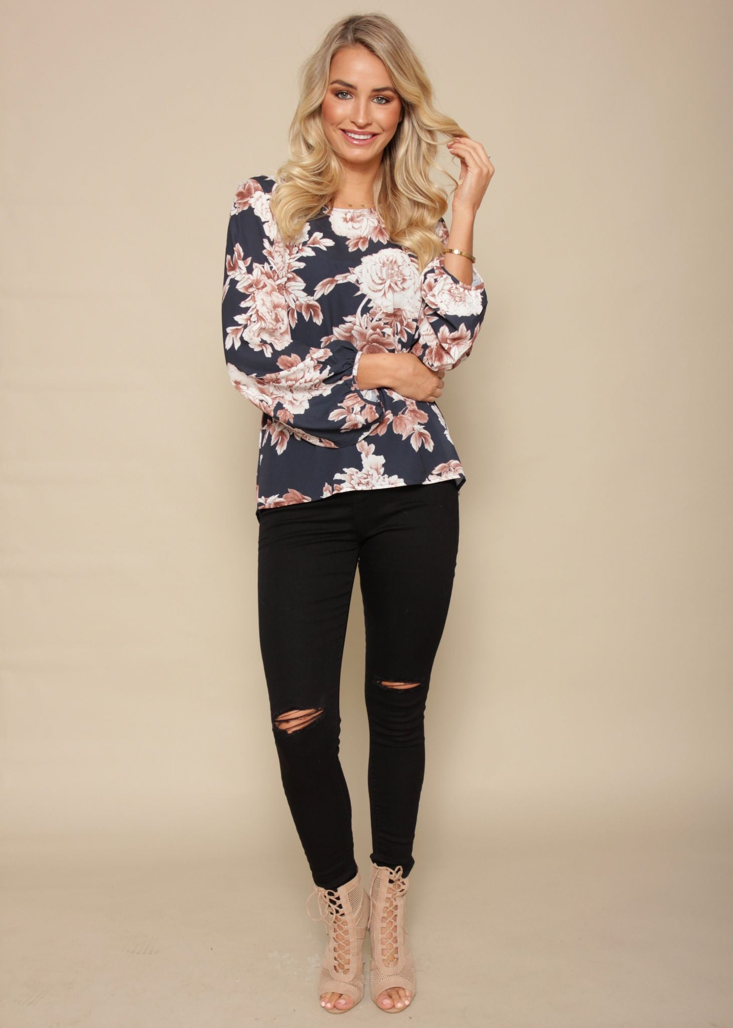Golden Lights Blouse - Navy Floral