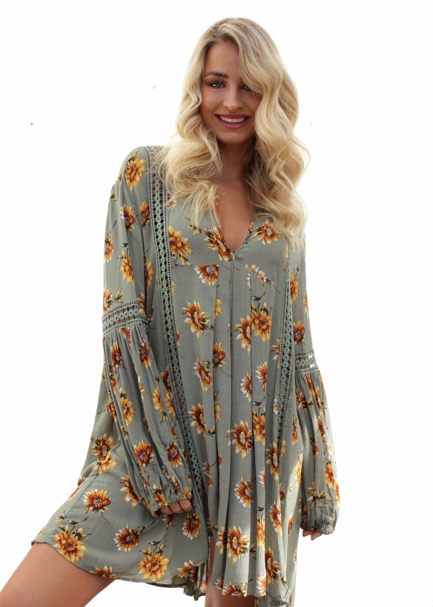 Break The Rules Tunic Dress - Sage