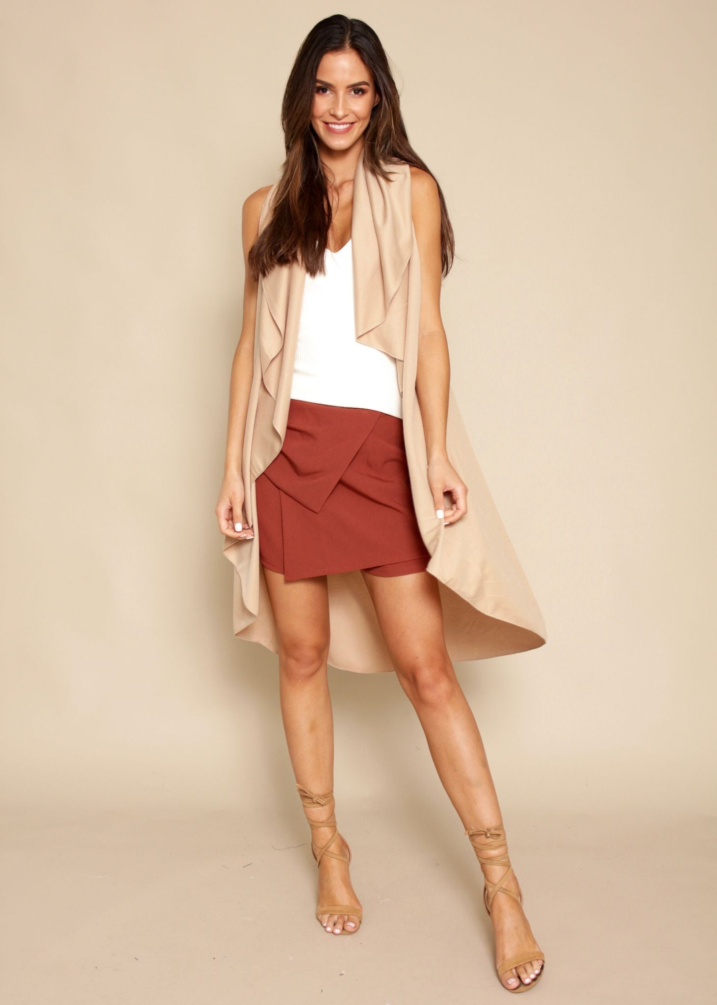 Bright Lights Sleeveless Cape - Camel