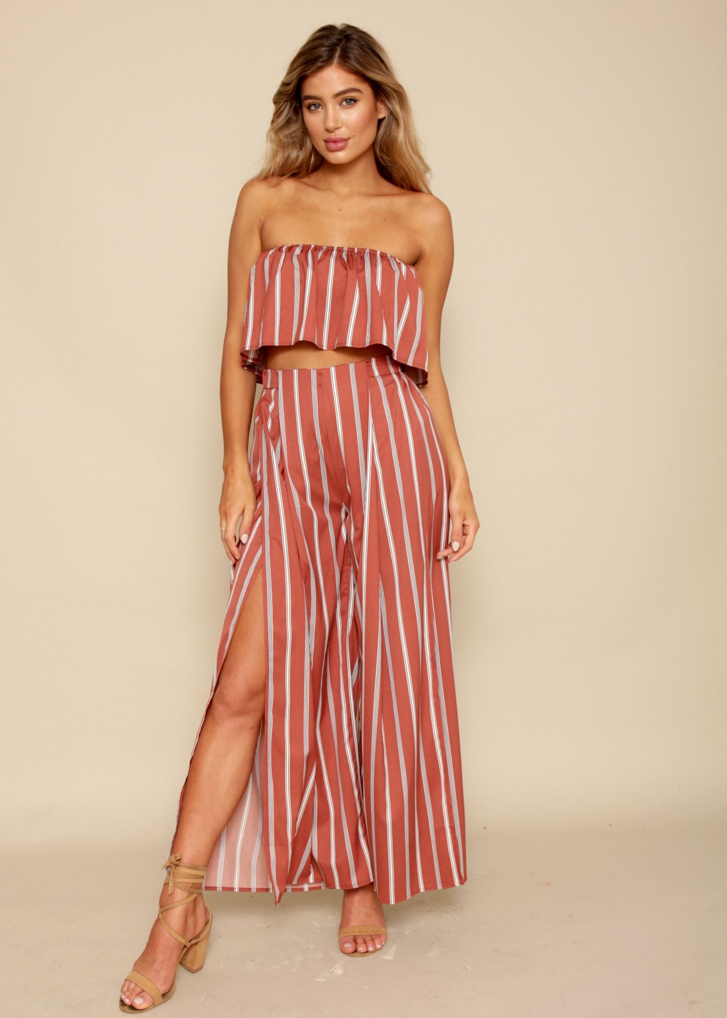 Roxanna Frill 2 Piece Set - Rust Stripe