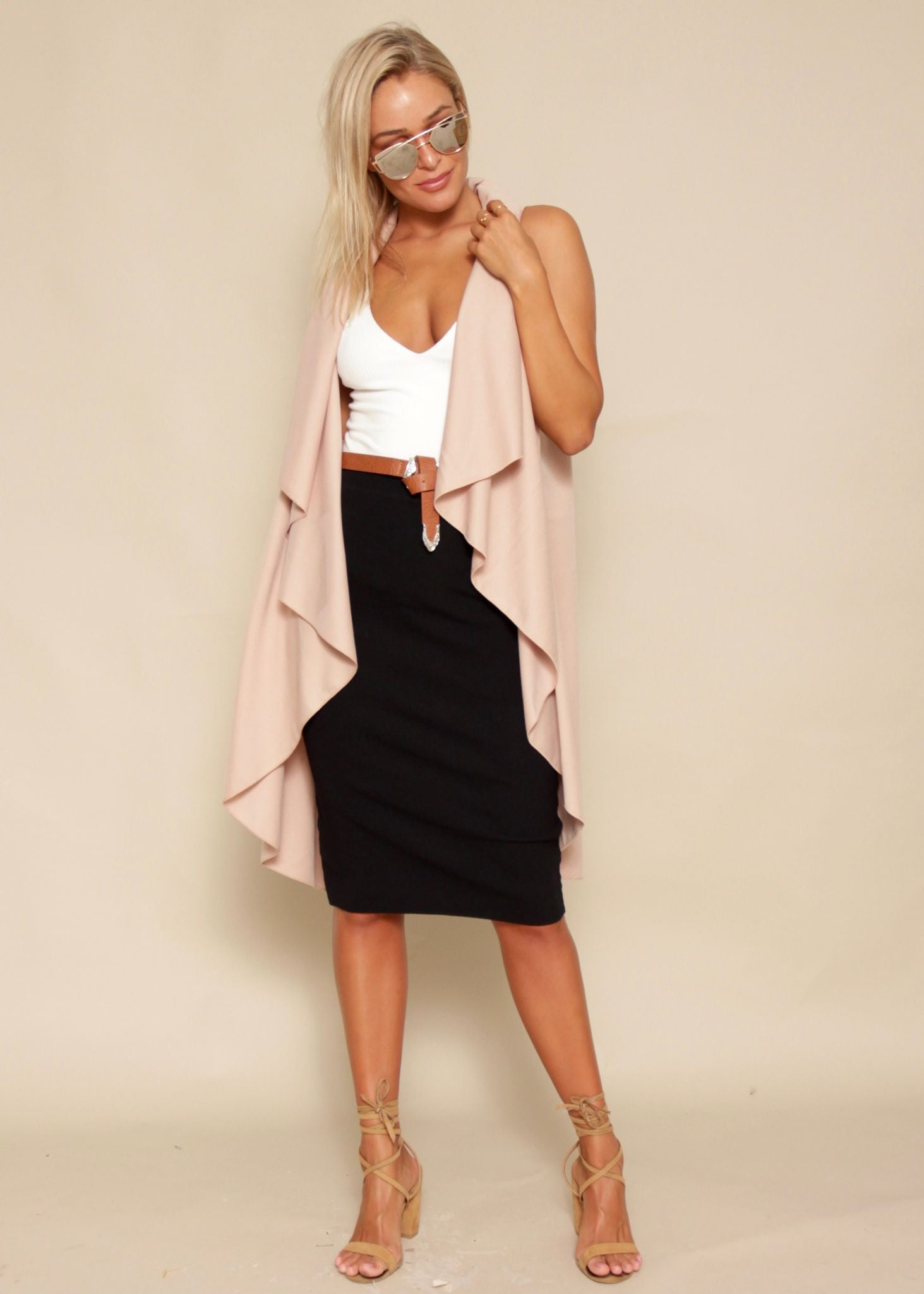 Keep Dreaming Sleeveless Cape - Blush