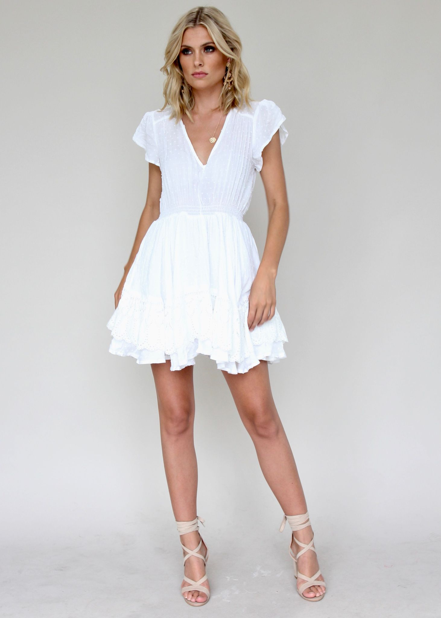 Alysse Mini Dress - White Embroidered
