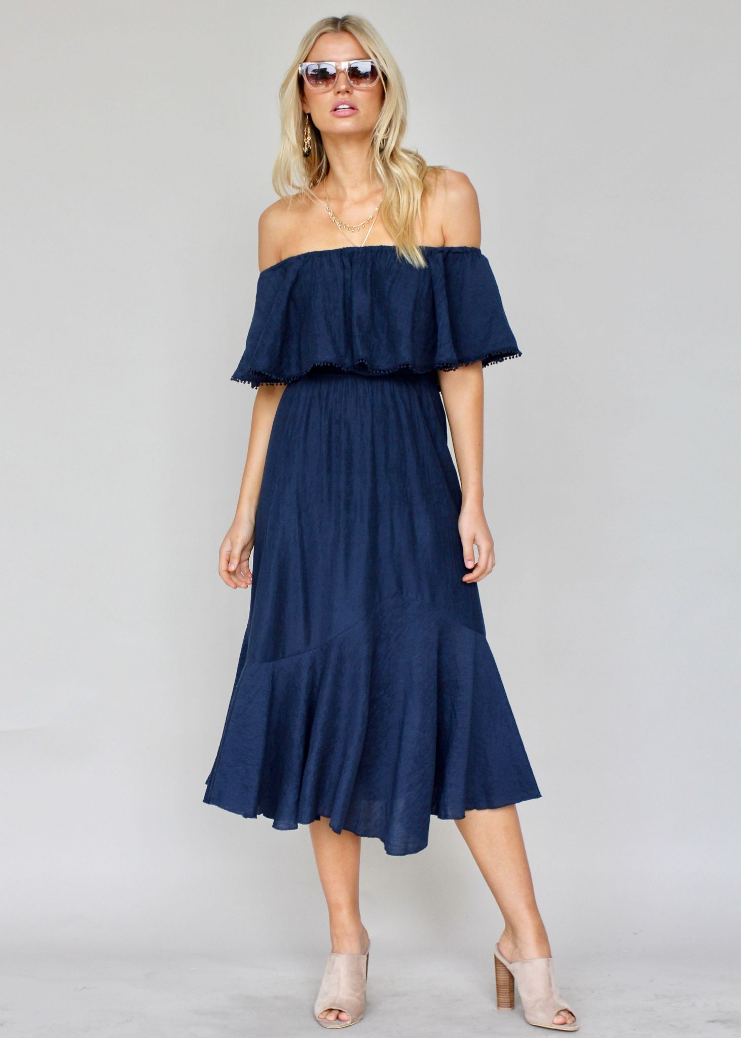 Hampton Summer Midi Dress - Navy