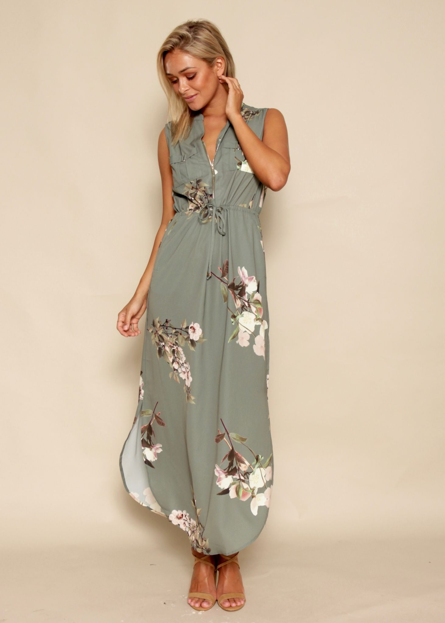 Full Bloom Maxi Dress - Khaki Garden