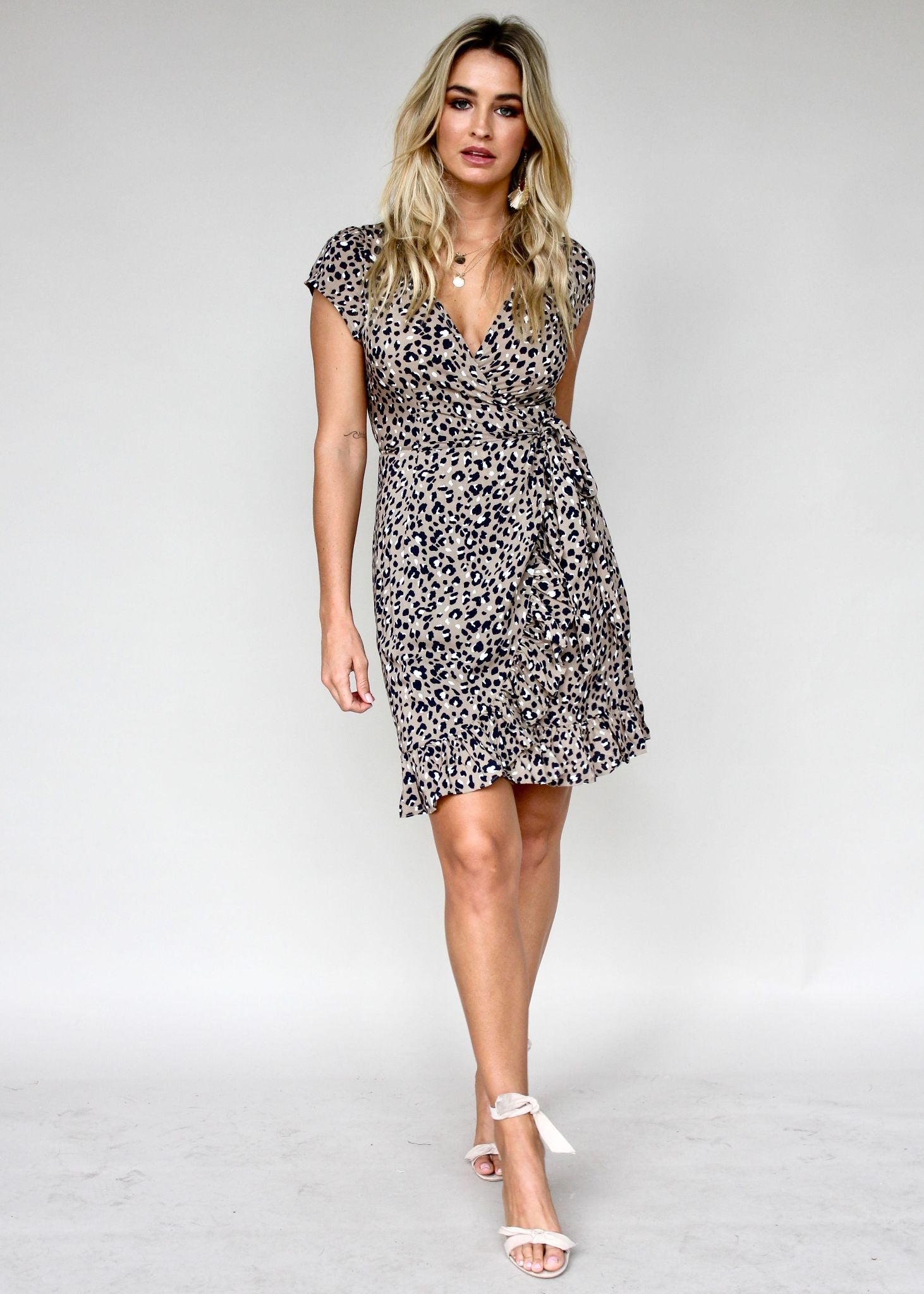 Total Eclipse Wrap Dress - Latte Leopard