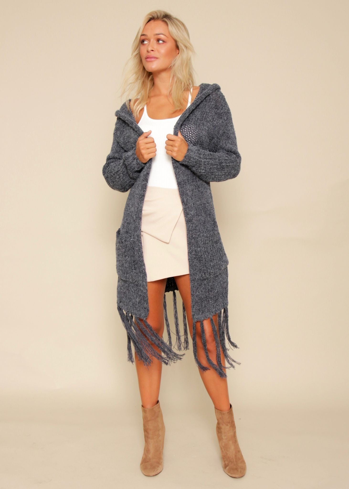 Night Whispers Hooded Cardi - Charcoal