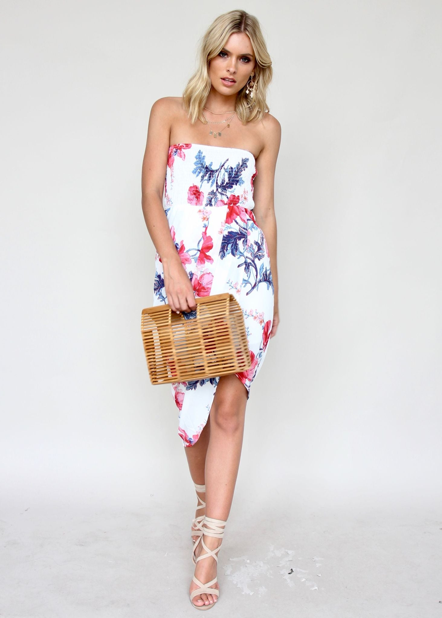 Milla Strapless Midi Dress - Florid