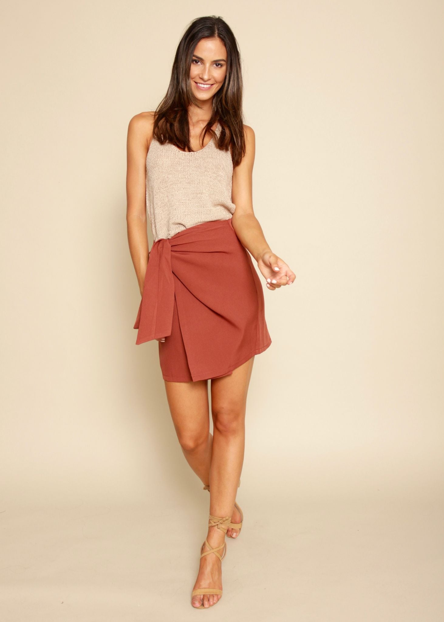 Night Fever Wrap Skirt - Rust