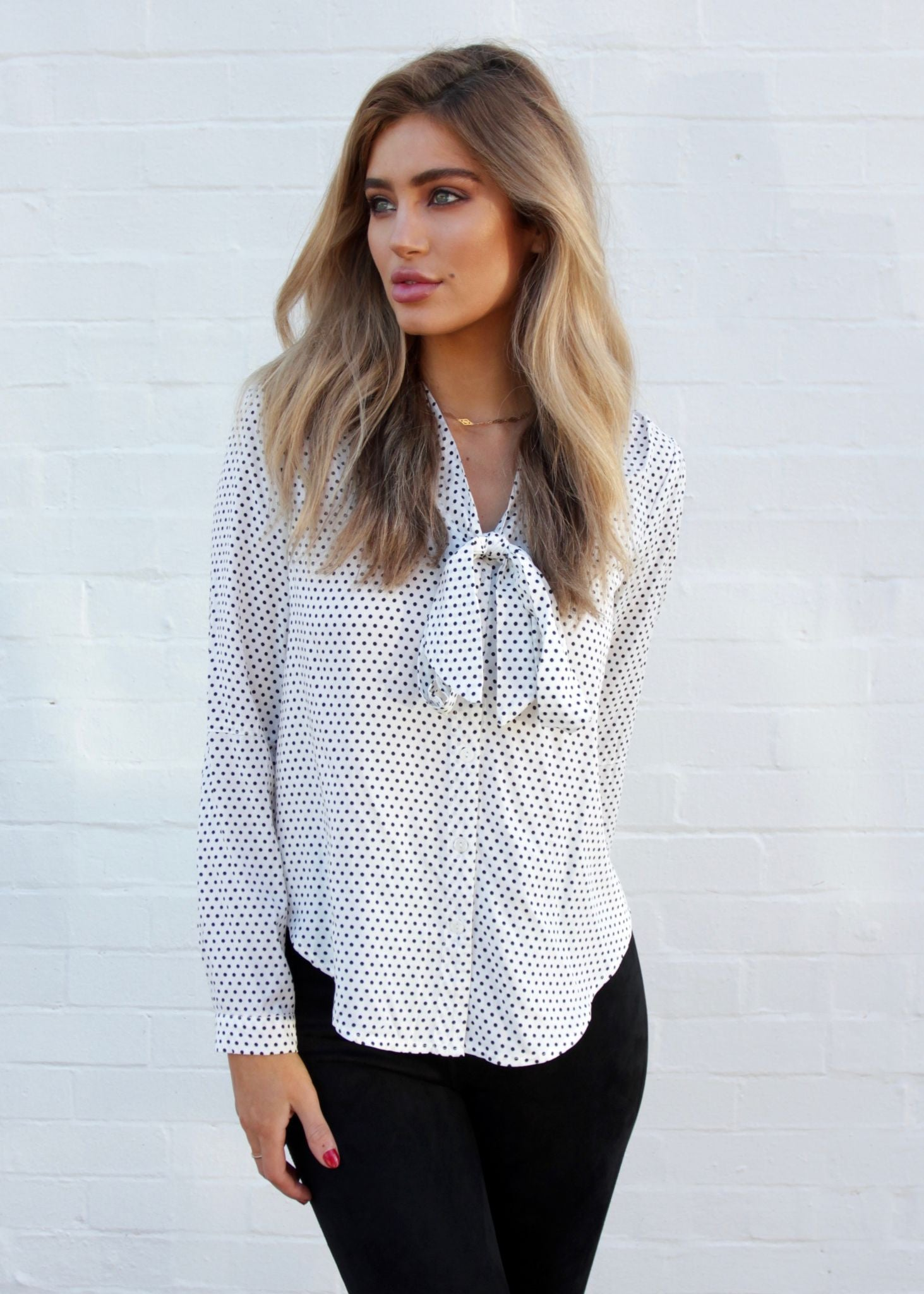 Take Two Blouse - White Polka