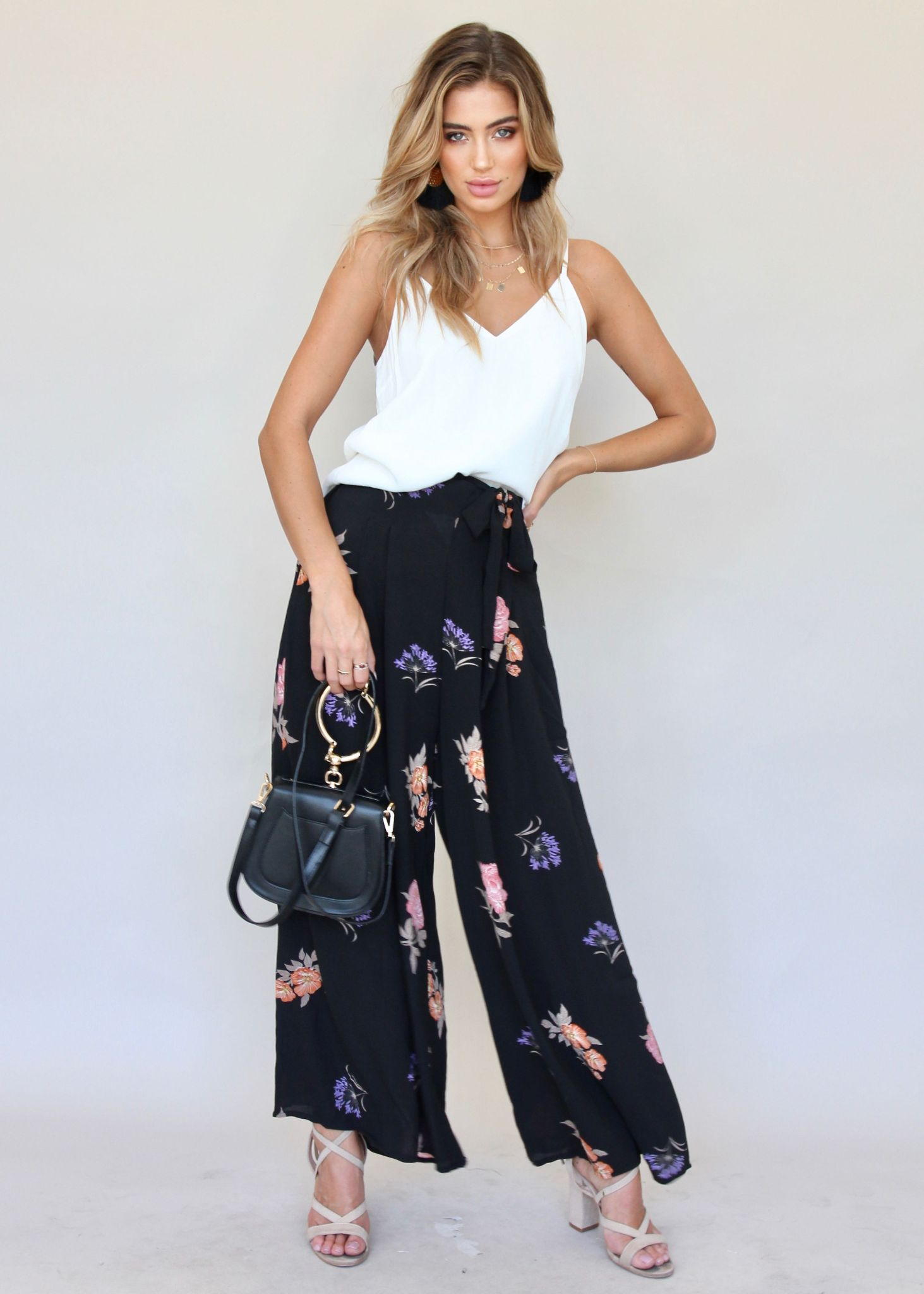 Note To Self Pants - Black Floral